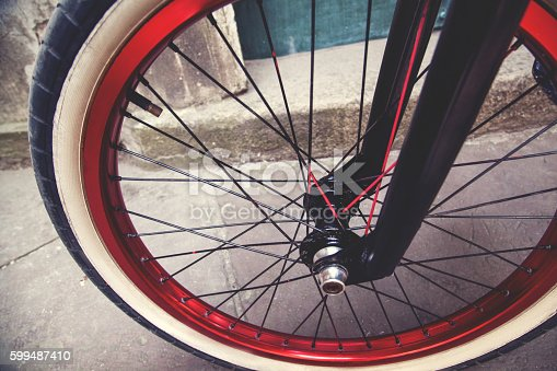 istock Close up of a BMX bicycle wheel 599487410