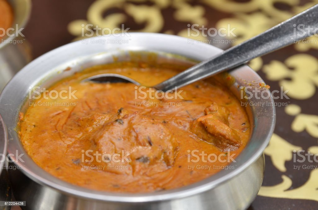 Close up of a bowl of indian mutton curry stock photo