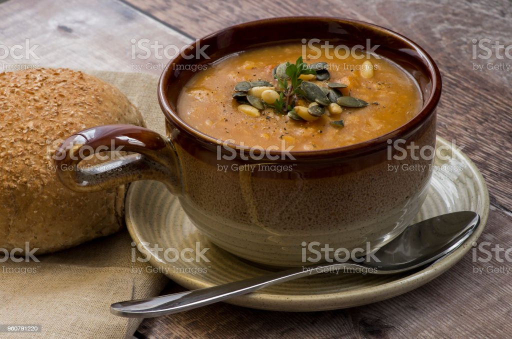 Close up of a bowl of lentil soup stock photo