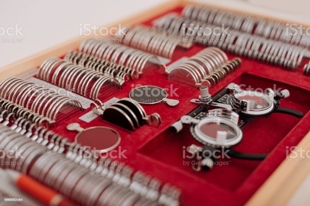 Close Up Of A Box With Ophthalmic Equipment Stock Photo - Download