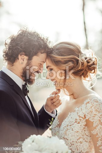 Close up of a bride and groom