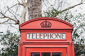 Close up of an iconic British red telephone box, low angle view.