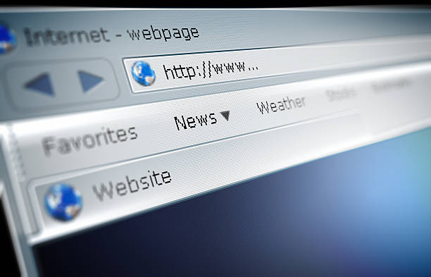 Close up of a broswer address bar Surfing the internet concept illustration website stock pictures, royalty-free photos & images