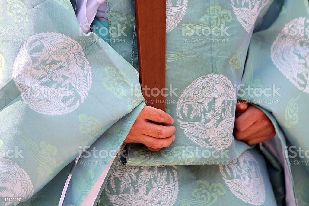 Close up of a buddhist monk robe stock photo