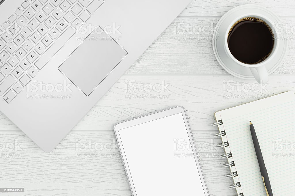 Close up of a business desktop stock photo