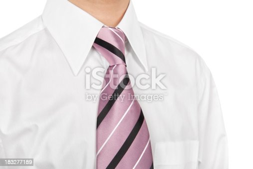 Close up of a business man wearing a purple tie on white background
