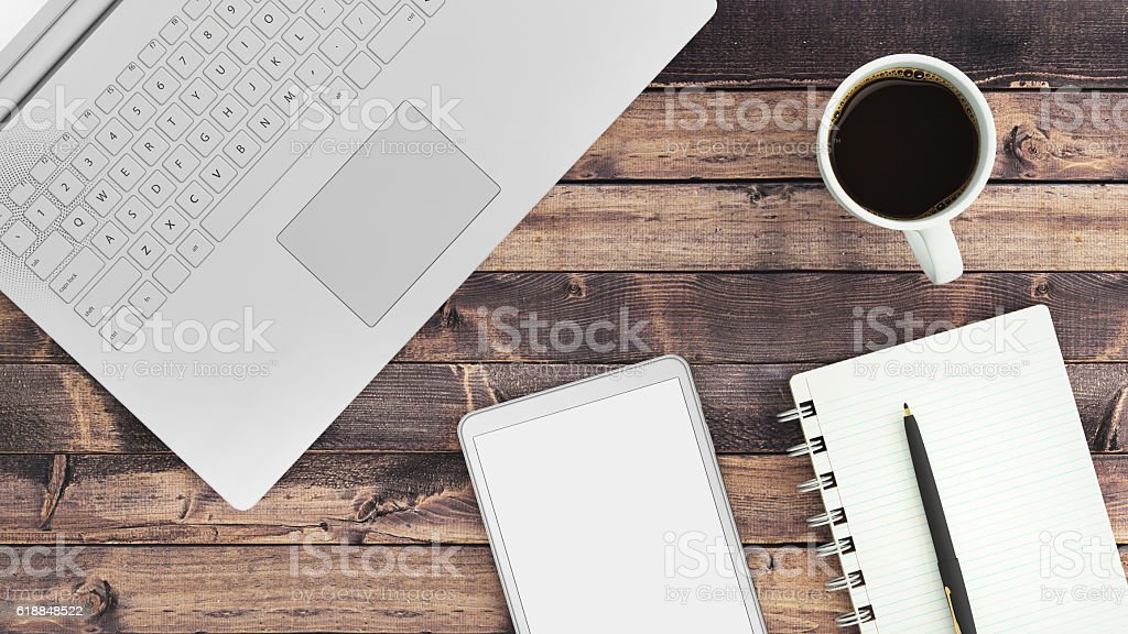 Close up of a business table stock photo