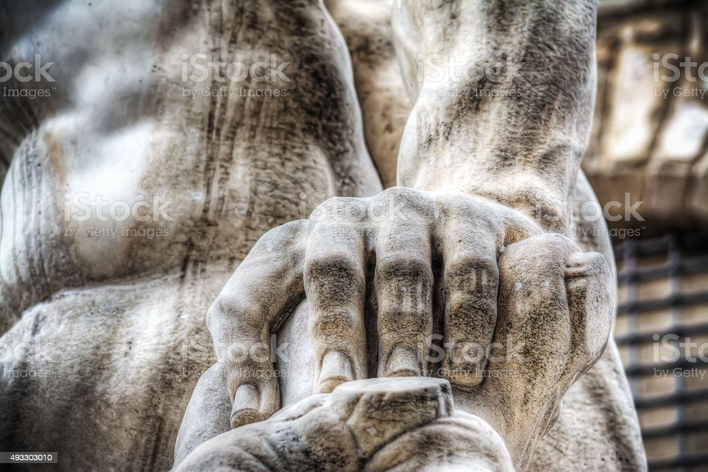 close up of a Cacus hand in Piazza della Signoria stock photo