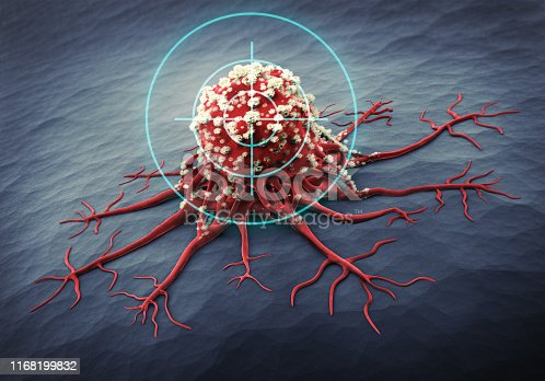 3D Rendering of a cancer cell - medical illustration
