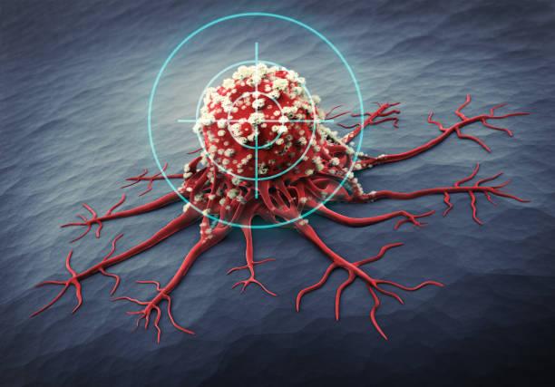 nahaufnahme einer krebszelle - 3d-illustration - krebs tumor stock-fotos und bilder