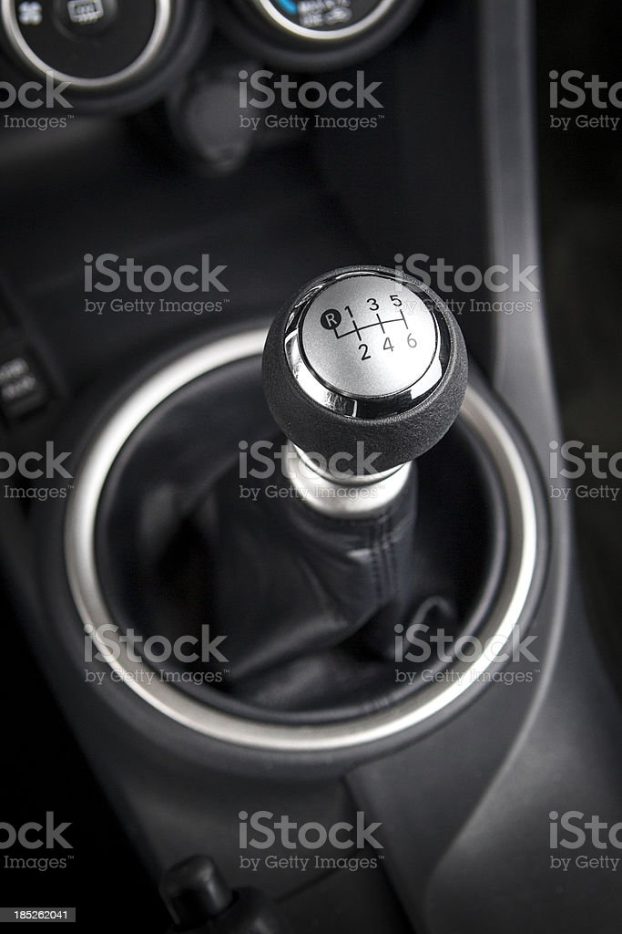 Close up of a car gear shift knob royalty-free stock photo
