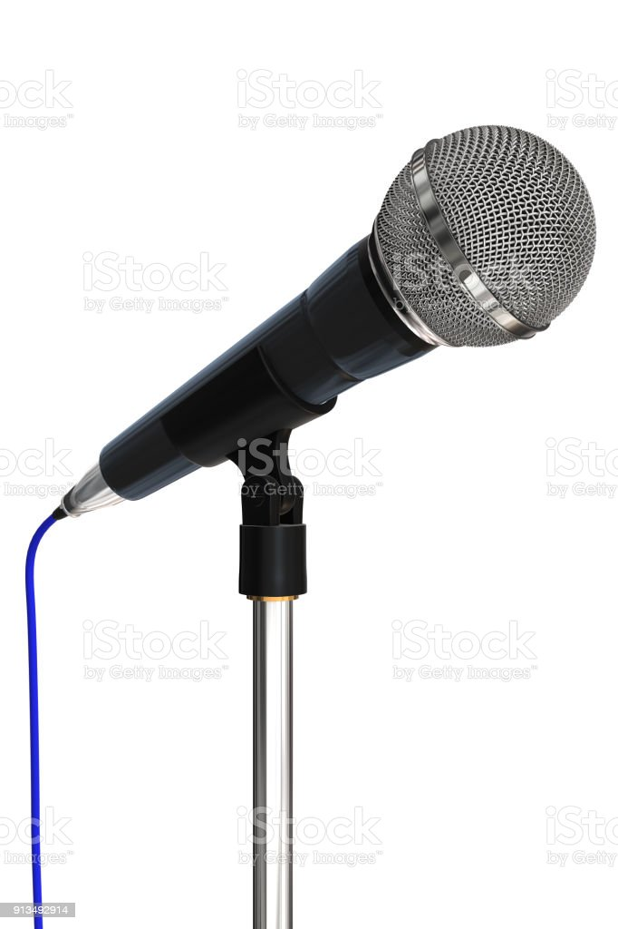 Close up of a cardioid dynamic ball head microphone on a microphone stand on a plain white background. stock photo