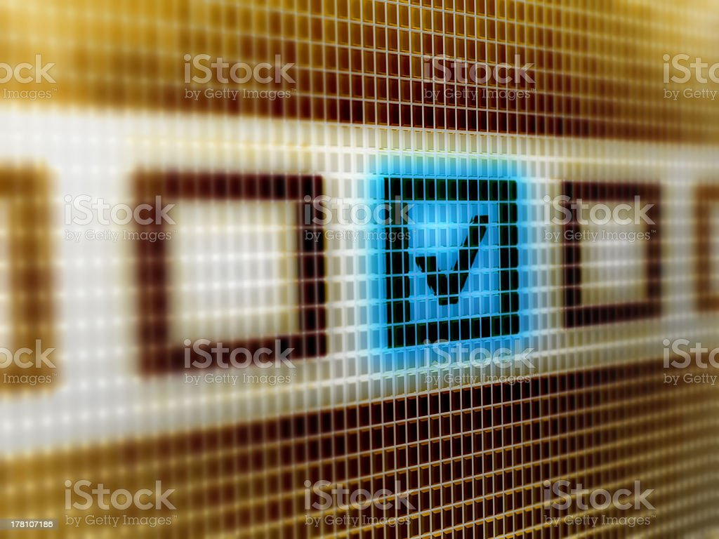 Close up of a checkbox on a computer screen stock photo
