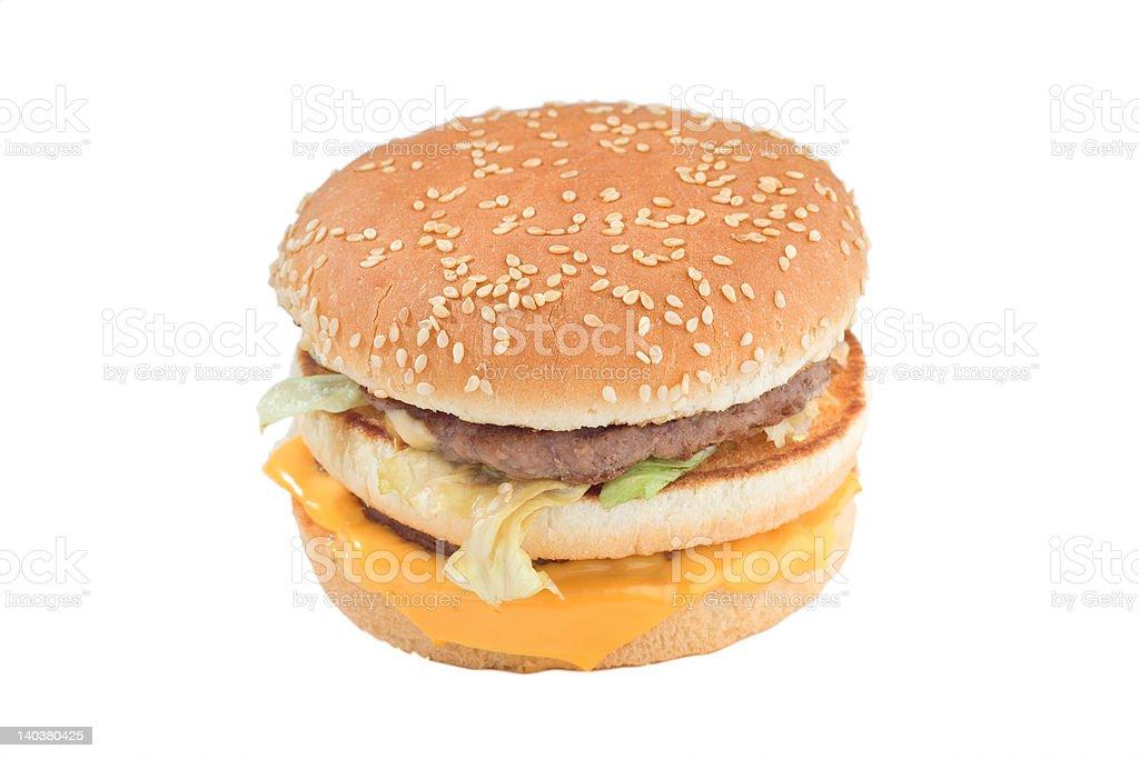 Close up of a cheeseburger royalty-free stock photo