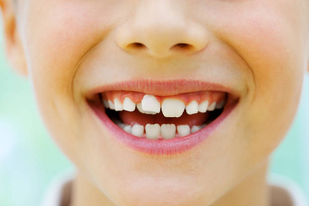 Close up of a childs mouth stock photo