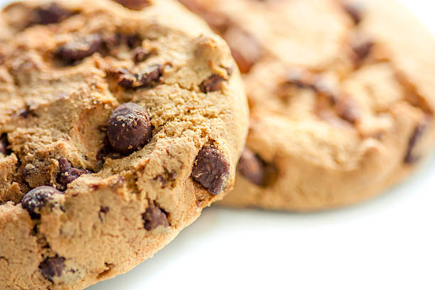 close up of a chocolate chip cookie stock photo