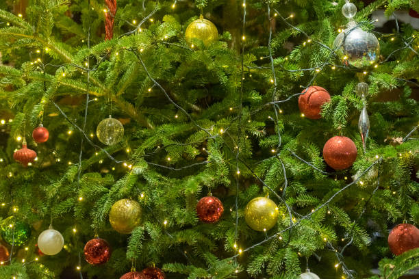 Close up of a Christmas tree. stock photo