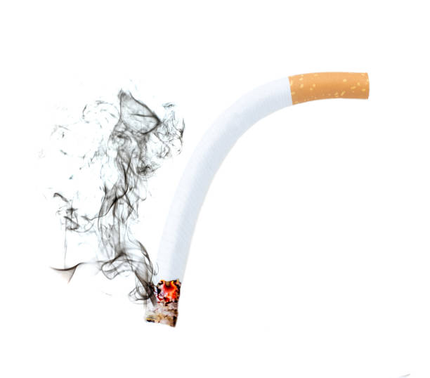 Close up of a cigarette bend with smoke showing at white background, Erectile Dysfunction concept Close up of a cigarette bend with smoke showing at white background, Erectile Dysfunction concept Dick stock pictures, royalty-free photos & images