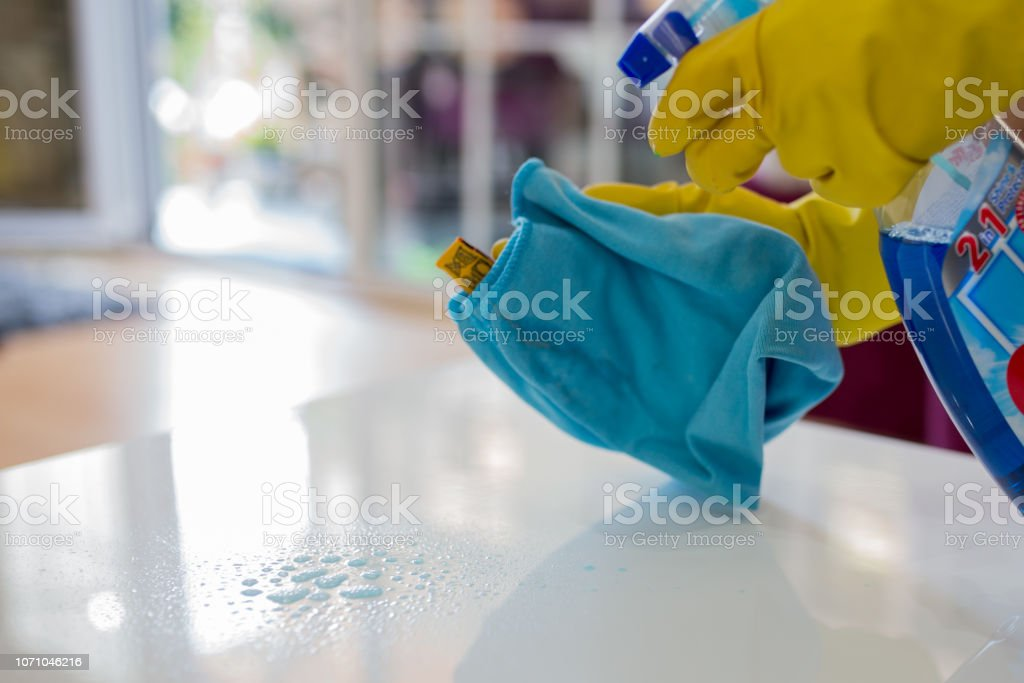 Close up of a cleaning the table stock photo