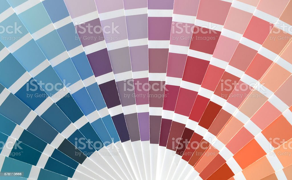 Close up of a color catalog stock photo