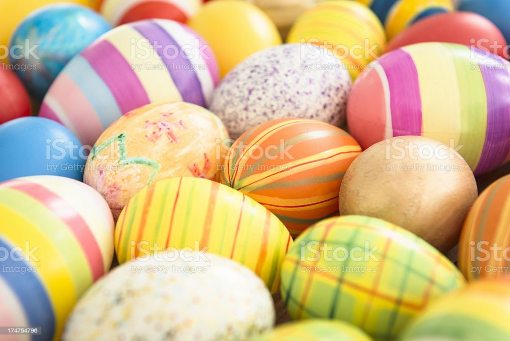 Close up of a Colorful painted easter egg background royalty-free stock photo