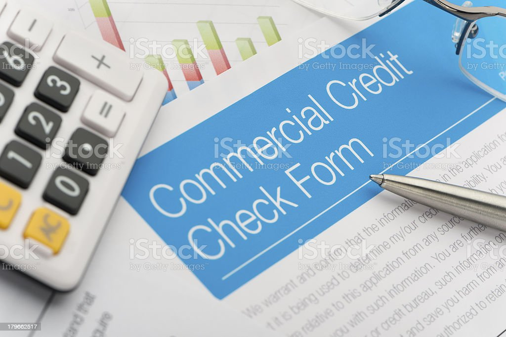Close up of a Commercial Credit check form royalty-free stock photo