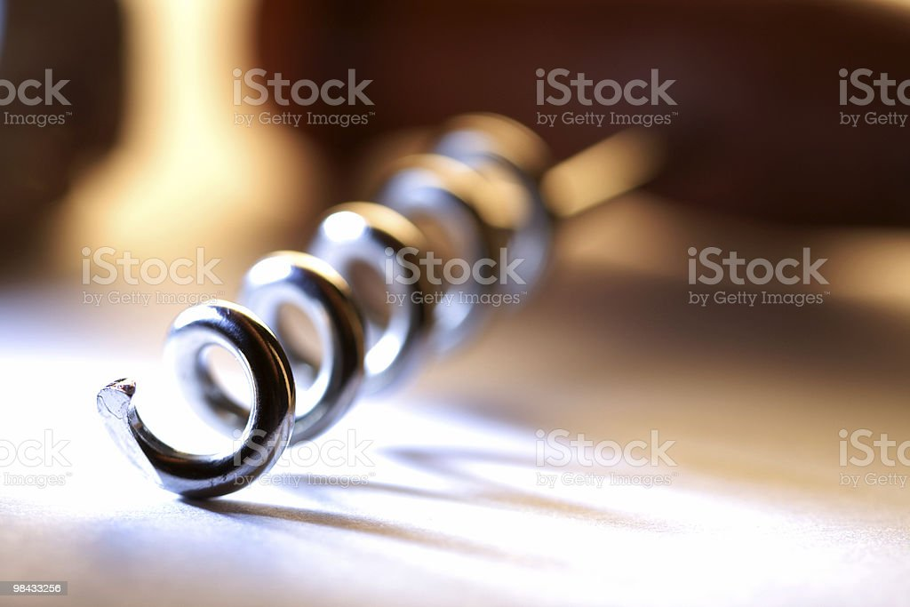 A close up of a corkscrew wine opener royalty-free stock photo
