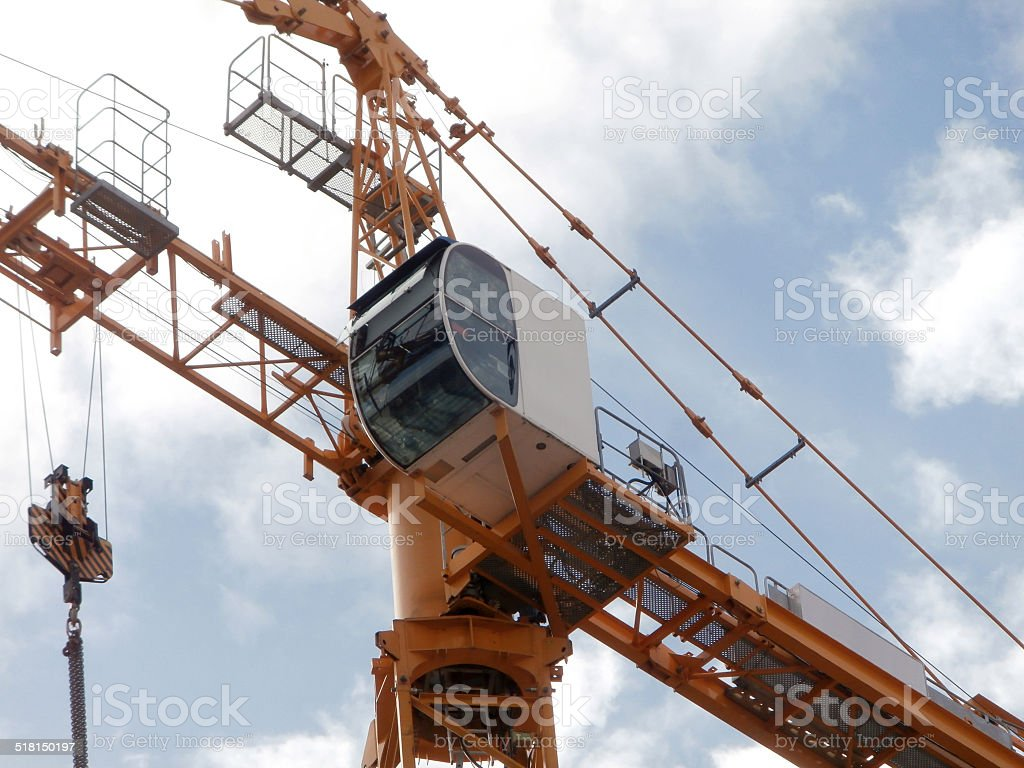 Close up of a crane's cab at work stock photo