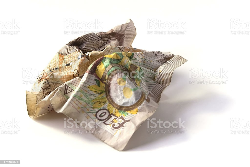 Close up of a crumpled up ten pound note stock photo