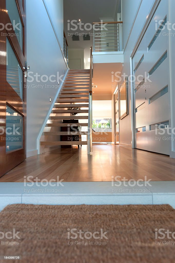 Close up of a doormat in an inviting house. royalty-free stock photo