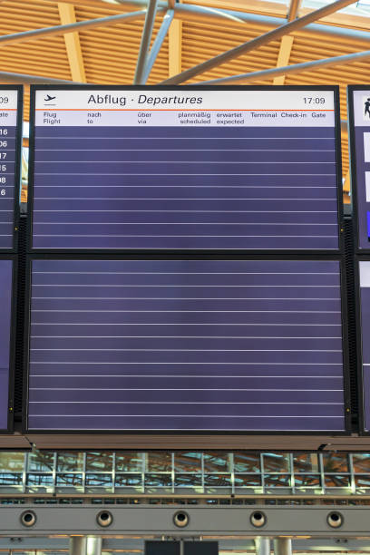 Close up of a empty departure board at airport because of coronavirus pandemic