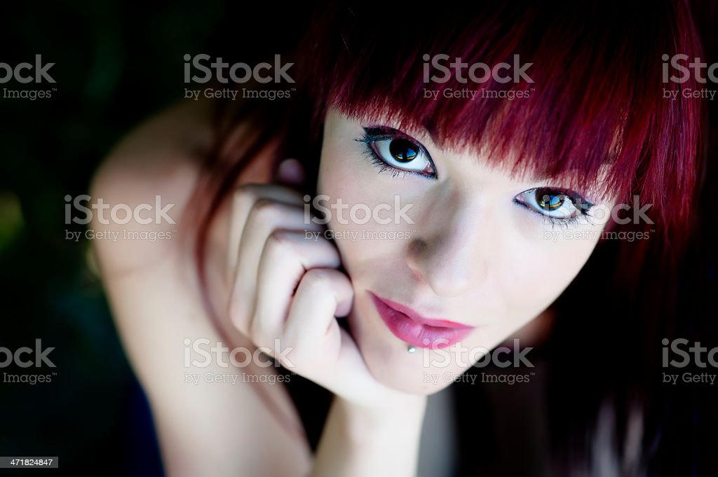 A close up of a female portrait stock photo