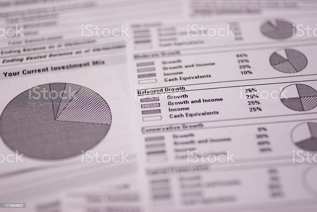 A close up of a financial spreadsheet stock photo