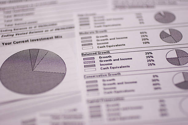 A close up of a financial spreadsheet Financial spreadsheets shot, macro-style to communicate money matters. 401k stock pictures, royalty-free photos & images