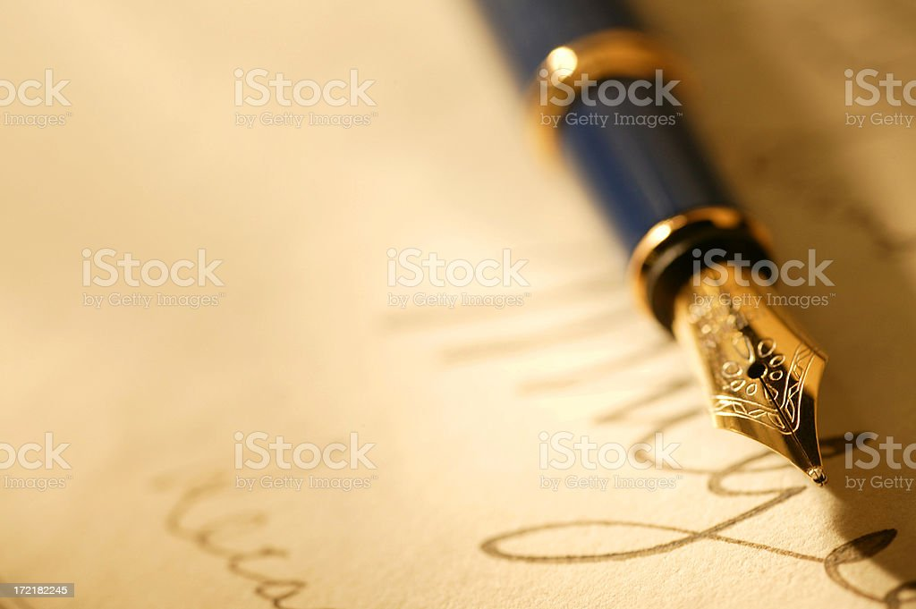 Close Up Of A Fountain Pen And Signature royalty-free stock photo