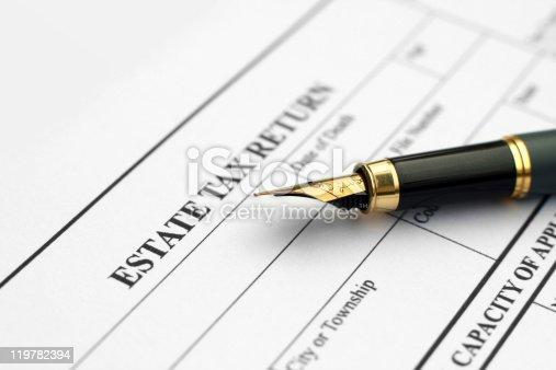 Close up of estate tax return