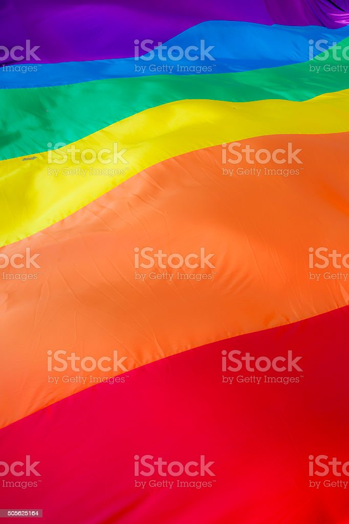 Close up of a giant rainbow flag stock photo