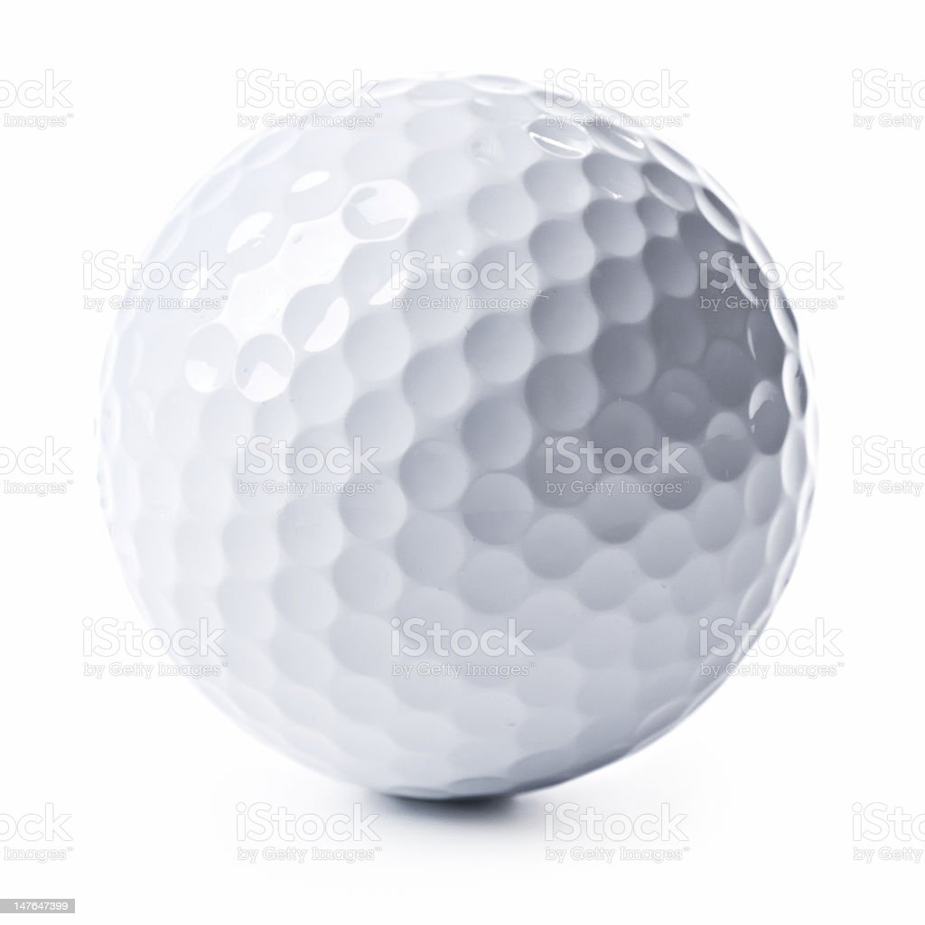 Close up of a golf ball isolated on a white background royalty-free stock photo