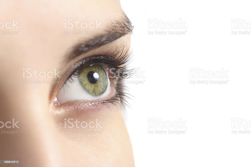 Close up of a green woman eye stock photo