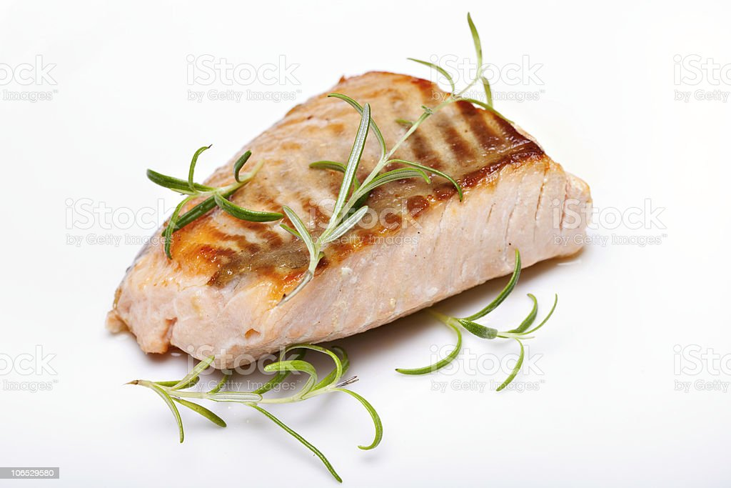 A close up of a grilled Salmon steak royalty-free stock photo