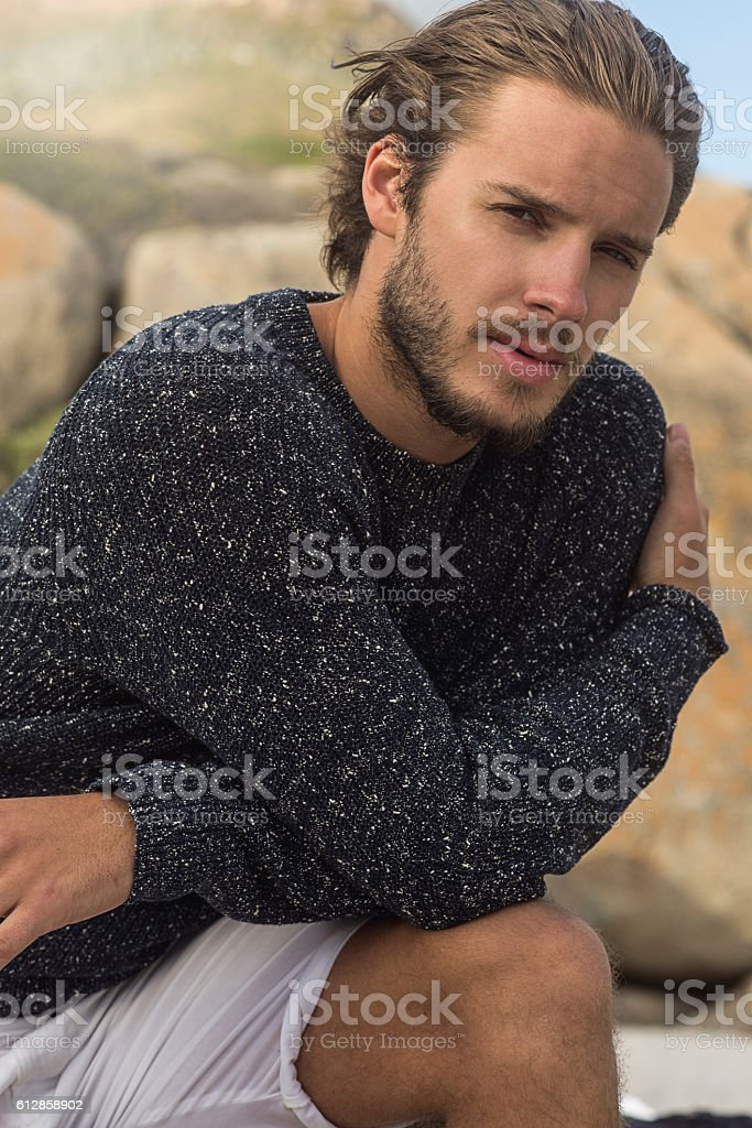 close up of a handsome man looking at camera stock photo