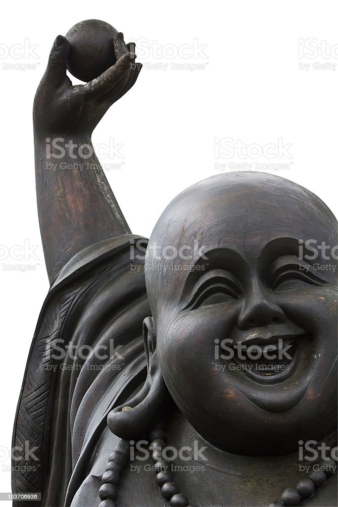 close up of a happy buddha's face on white background stock photo