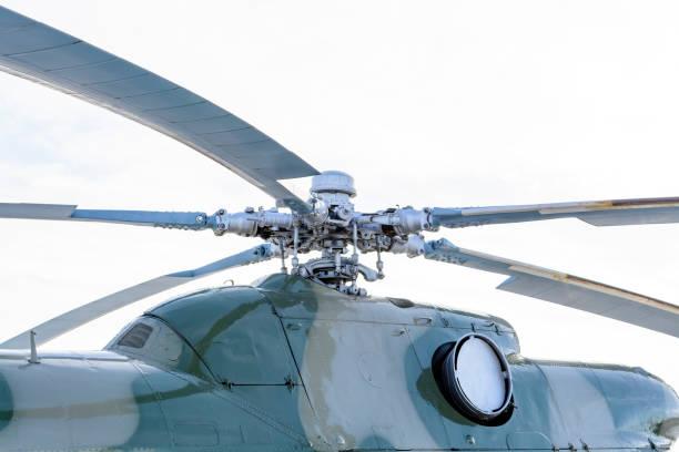 Nahaufnahme einer Hubschrauber-Rotornabe und klingen – Foto
