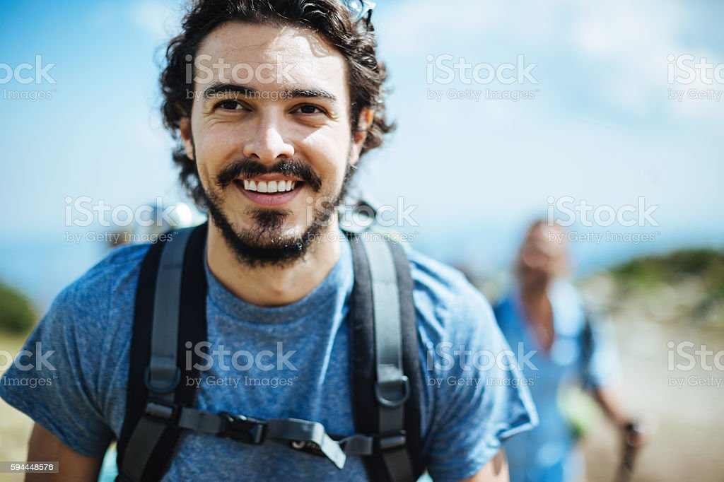 Close up of a hiker stock photo