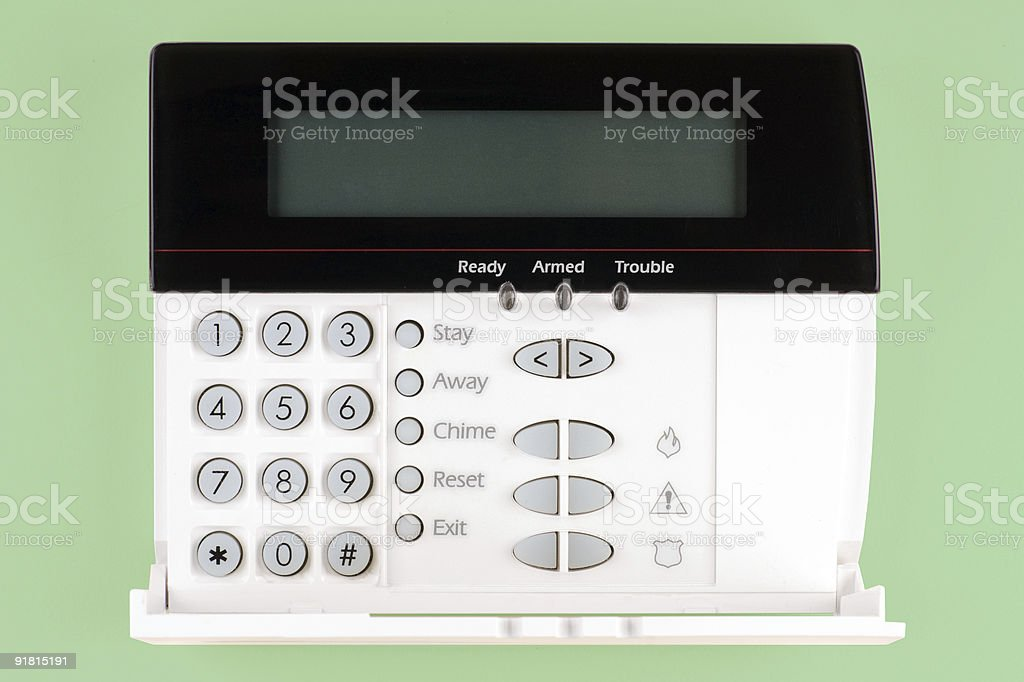 Close up of a home security keypad stock photo