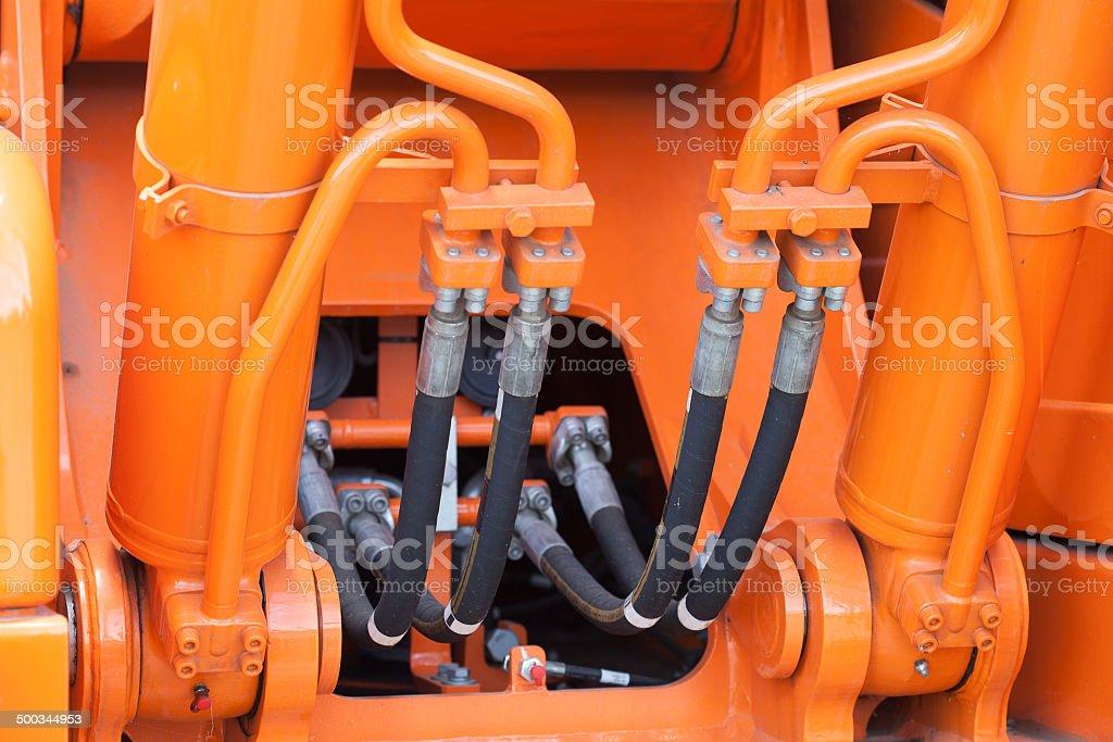 Close up of a hydrolic piston stock photo