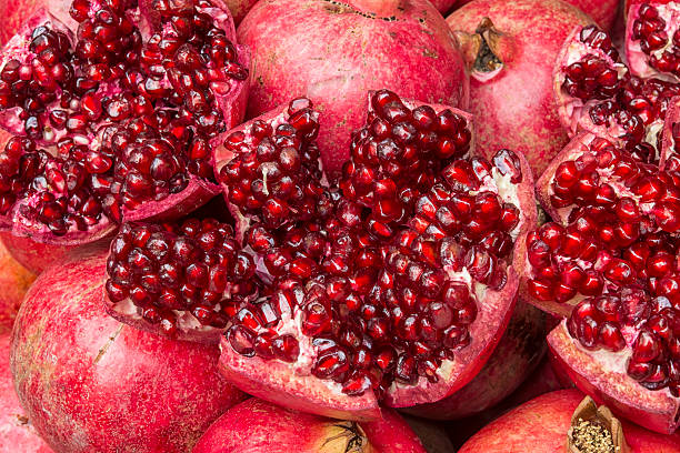 Close up of a juicy pomegranate stock photo