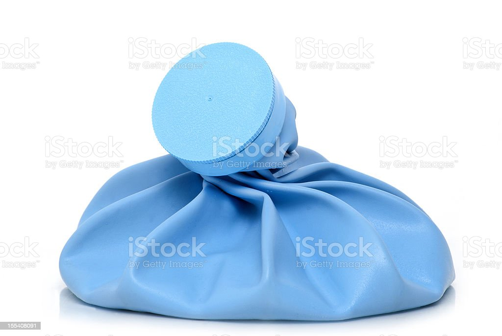 Close up of a large blue ice bag stock photo