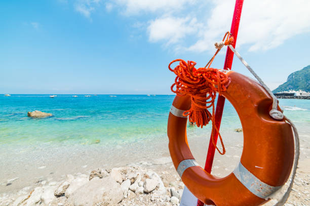 Close up of a life buoy in Marina Grande beach - foto stock