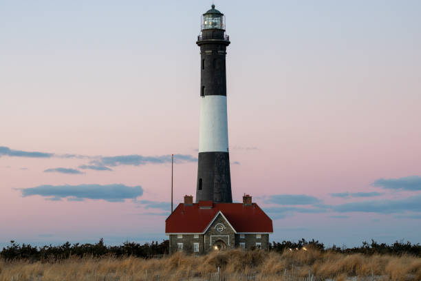 Close up of a lighthouse at dusk. Fire Island, Long Island New York.